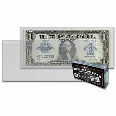(10) Large  Bcw Deluxe Currency Sleeve Bill  Holders Paper Money Semi Rigid