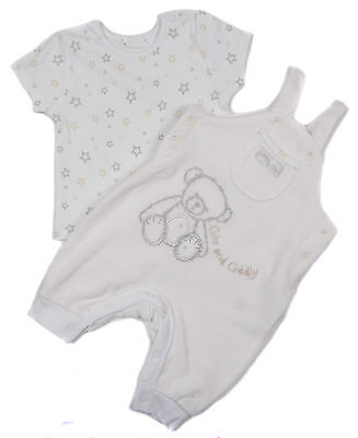 Baby Unisex Dungarees Set White Velour with cotton top 0-3m up to 18-24m