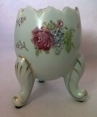 NapcoWare Egg Vase light blue with roses # C3199/S three footed planter