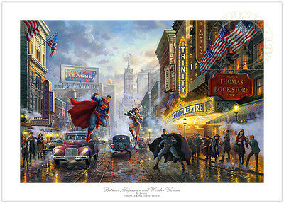 Thomas Kinkade-DC BATMAN, SUPERMAN AND WONDER WOMAN- 12x18 S/N Ltd Edition Paper