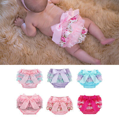 Newborn Baby Girl Flower Cover Ruffle Bloomer Panties Lace Bowknot Diaper Shorts