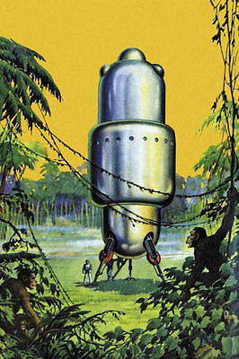 Spaceship In The Jungle Retro Sci Fi Science Fiction Vintage Print Poster 16x24