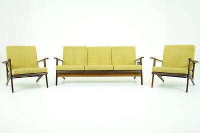 (306-136) SALE! DANISH Mid Century Modern Teak Sofa & Pair Lounge Chairs