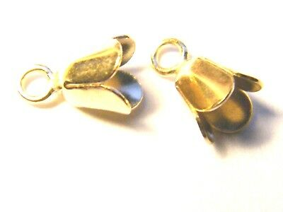 9ct Gold Small Bell Cap with 4-Prongs which expand to fit Stone Drop Pendants