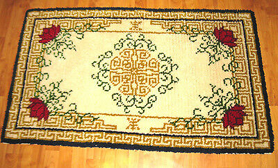 Vintage Shillcraft Handcrafted Latch Hooked Wool  Rug  4 x 2 1/2' ~ Completed