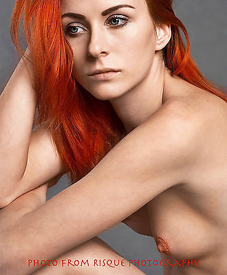"Redheaded Nude Woman 8.5x11"" Photo Print Lovely Naked Modern Female Blue Eyes"