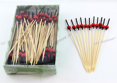 100 Bamboo Catering Paddle Finger Food Picks Sticks Wedding Cocktail Party 12cm