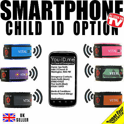 Child Vital ID Wristband. Medical Identity Bracelet Allergy Asthma Diabetic Epil