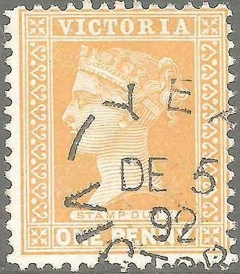 VICTORIA 1890-1900 inscribed Stamp Duty 1d YELLOW ACSC 75b CV$390 YEA fu cds