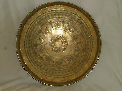 "Large 19"" Diameter Antique Persian Syrian Cairoware Brass Tray Vintage middle"