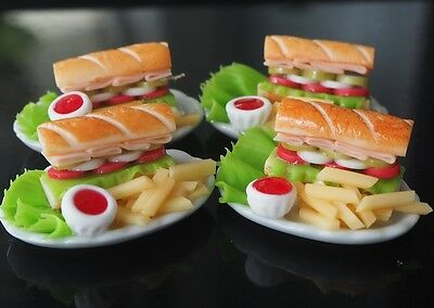 Dollhouse Miniatures 4 Subway Sandwiches French Fries on Plates Toy Food Supply