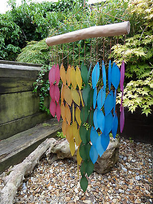 Large Hand Made Glass Waterfall Garden Leaf Rainbow Wind Chime Mobile Windchime