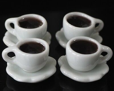 4 Cups Of Hot Black Coffee Dollhouse Miniatures Food Supply Deco Drink Beverage