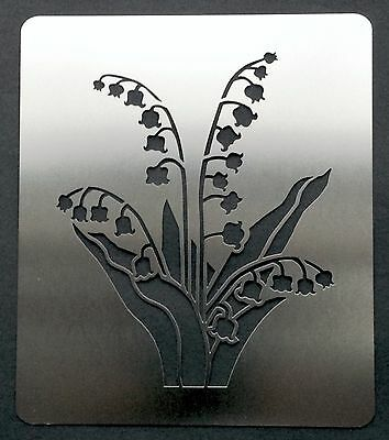 Lily of the Valley Flower Stainless Steel Metal Stencil Template 10cm x 8.5cm