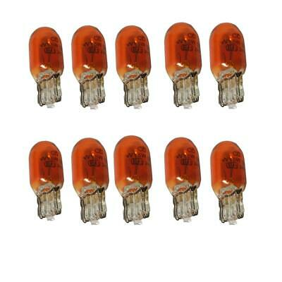 Amber 10 x Car Push Fit 501 Wedge Base 12 Volt 5 Watt Capless Indicator Bulbs