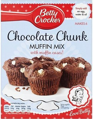Betty Crocker Muffin Mix Chocolate Chunk with Muffin Cases (1x335g)