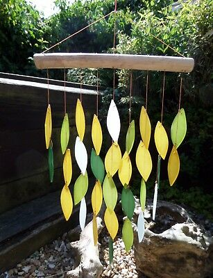 Hand Made Glass Waterfall Garden Art Green Leaf Wind Chime Mobile Windchime