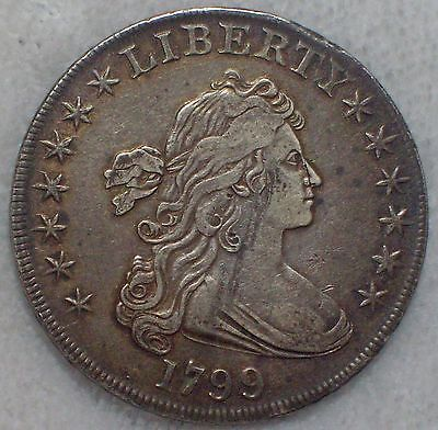 1799 BUST SILVER DOLLAR Attractive XF+ Detailing BB-164 B-17a R.4 RARE Authentic
