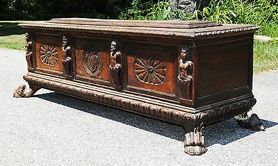 Antique Coffer Trunk Chest Possibly British - Rare - Huge Carvings & Crest