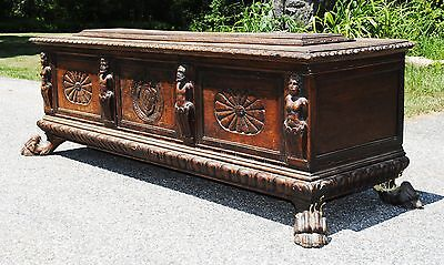 Antique Coffer Trunk Chest Possibly From England - Rare - Huge Carvings & Crest