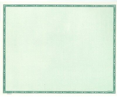 Blank Certificate Award License Paper 50 Shts Green 9.25 x 7.5 GOES Lithography