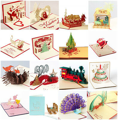 3D Pop Up Greeting Card Santa Claus Birthday Christmas Thanksgiving Lovers Cards