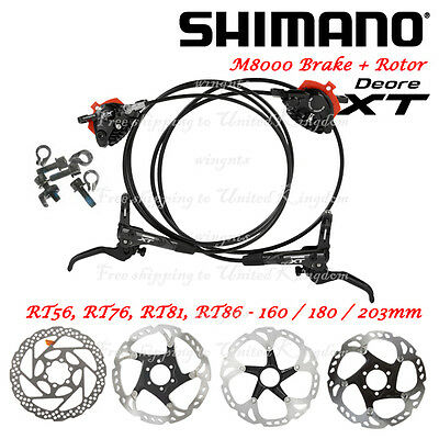 Shimano Ice-Tech Deore XT M8000 Hydraulic Disc Brakes Set Silver Front & Rear