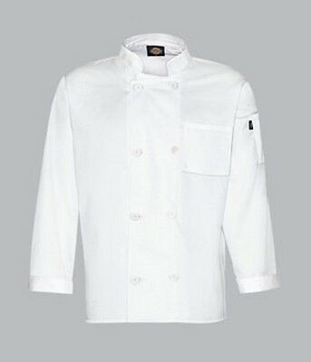 Dc118 8 Button Dickies Chef Coat Long Sleeve White Or Black All Sizes Small-5Xl
