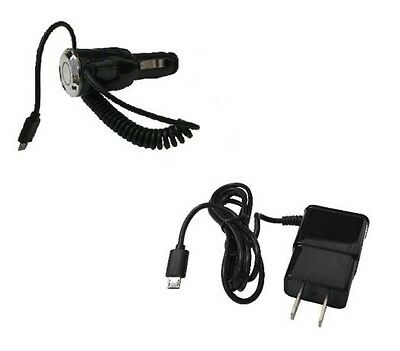2 AMP Car Charger + Wall Travel Charger for LG Optimus F60 MS395 D390 D392 D390N