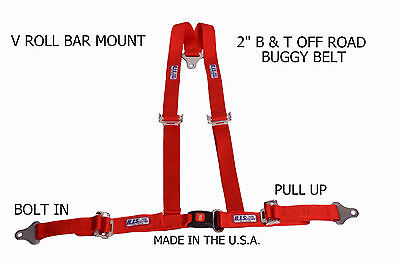 """Rjs Racing 2"""" Buggy Off Road Seat Belt 3 Point B&t V Harness Red 50520-4 4000104"""