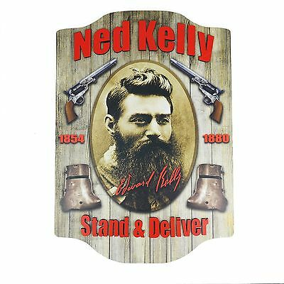 NED KELLY Medium Wooden WALL SIGN - Man Cave Pool Room Bar Kitchen