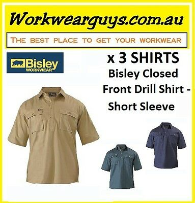 3 x SHIRTS BISLEY WORKWEAR  Closed Front Drill Work Shirt - Short Sleeve BSC1433