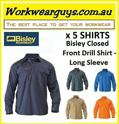5 x SHIRTS BISLEY WORKWEAR - Closed Front Drill Work Shirt - Long Sleeve BSC6433