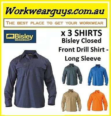 3 x SHIRTS BISLEY WORKWEAR - Closed Front Drill Work Shirt - Long Sleeve BSC6433