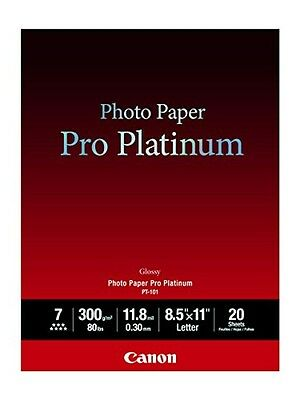 Canon Photo Paper Pro Platinum, 8.5 x 11 Inches, 20 Sheets (2768B022), New