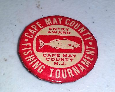 Vintage Cape May Fishing Tournament ENTRY AWARD Badge Pin Button