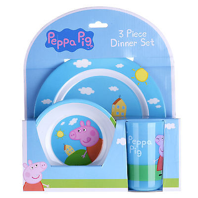 New Childrens Kids Peppa Pig 3 Piece Dinner Feeding Cutlery Set For 3 Yrs And Up