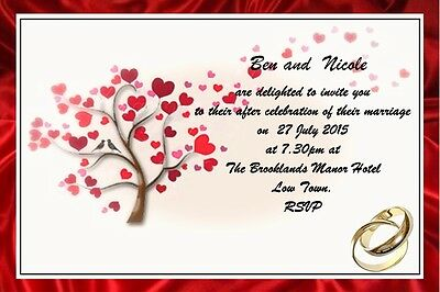 "Personalised Wedding Invitations  6"" X 4"" Ruby Red"
