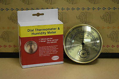 Brannan 100mm Gilt Dial Thermometer & Hygrometer Humidity Meter Home Barometer