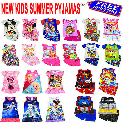 NEW Sz 2~16 KIDS SUMMER PYJAMAS BOYS OUTFITS TEES PJS SLEEPWEAR NIGHTIE TSHIRT