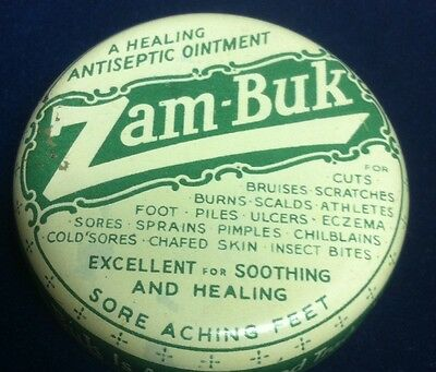 Vtg Antique Zam-Buk Tin Metal Antiseptic Ointment First-Aid Cream Tin