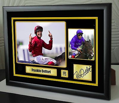 """Frankie Dettori Limited Edition Framed Canvas Tribute Print Signed """"Great Gift"""""""