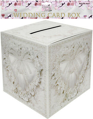WEDDING CARD POST BOX Heart Design Receiving Well Wishing Table Decorations UK