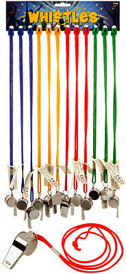 Metal Whistle Coloured Lanyard Cord Games Referee Football Sports Dog Training