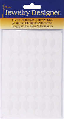 """Adhesive Paper Butterfly Tags .5"""" 112/Pkg White 189329"""