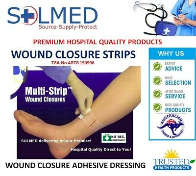 FIRST AID WOUND CLOSURE STRIPS 6 x 38mm (6 strips/Pkt) x 10 PACKETS (60 Strips)