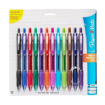 Paper Mate Profile Retractable Ballpoint Pens, 12-Pack, Assorted Colors 1788863