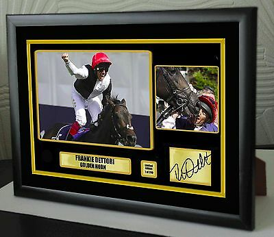 "Frankie Dettori Golden Horn Framed Canvas Tribute Print Signed Ltd ""Great Gift"""