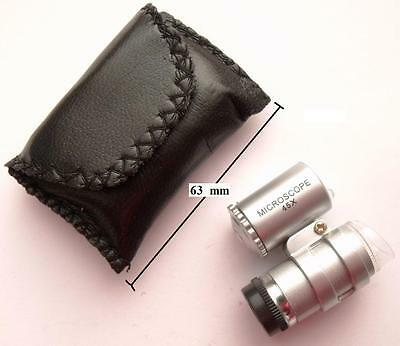 Small Collector's Led Microscope 45X In Black Etui (No Batteries Inside)