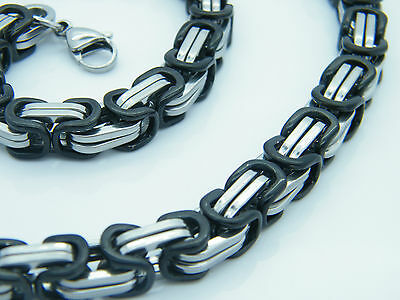 9Mm Large Heavy  Chunky  Necklace Stainless Steel 316L  Black&Silver Tone
